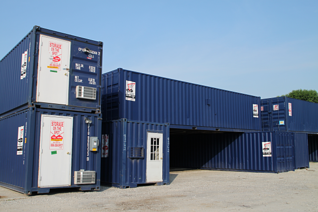 Containerized rental products, portable rental products, modular rental products, containerized sanitation solutions